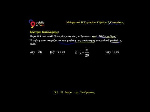 3.1 Μαθηματικά Β' Γυμνασίου Έννοια Συνάρτησης