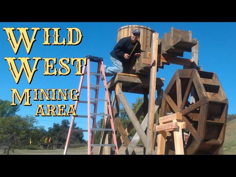 Water Wheel Fountain & Mining Area | Making An Old Western Mining Town | Old West Facade