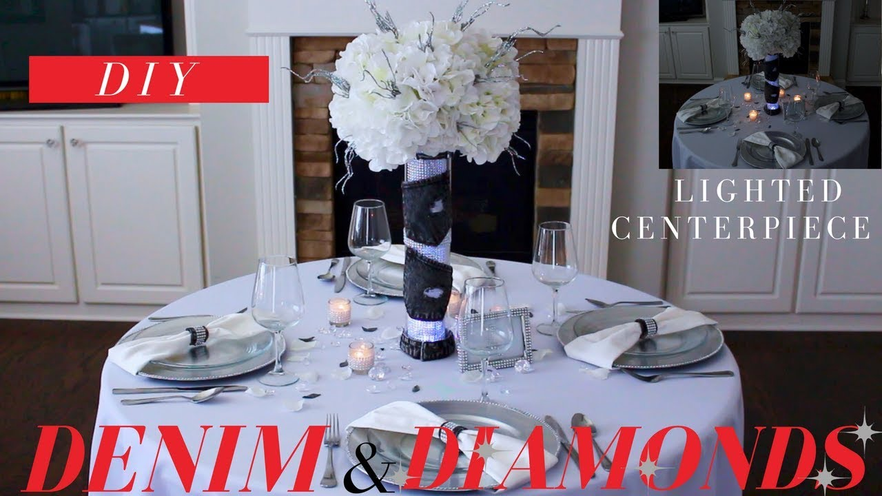 Diy Denim Diamonds Party Centerpiece Denim Diamonds Party Decoration Ideas
