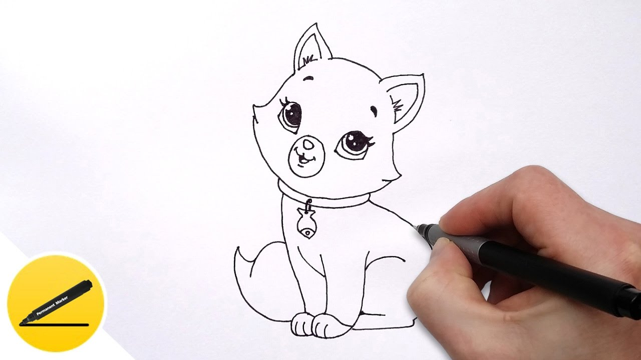 How to Draw a Cat for Kids   Cute Drawing of Animals   YouTube  artchannel  drawingtutorial  drawing