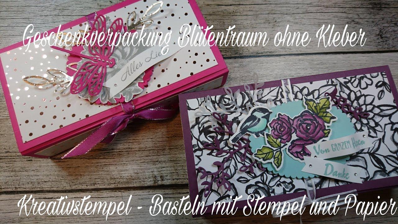 geschenkverpackung bl tentraum geschenkbox origami ohne kleben stampin up youtube. Black Bedroom Furniture Sets. Home Design Ideas