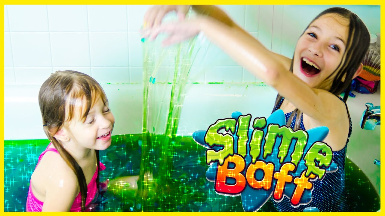 SQUISHY GREEN SLIME BAFF TOY CHALLENGE WITH ORBEEZ AND SHOPKINS! GOOEY BATH SLIME REVIEW BY PLP ...
