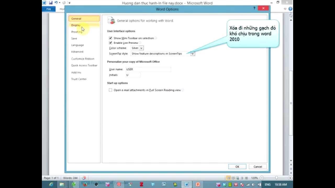 Xóa các gạch đỏ trong file word 2010