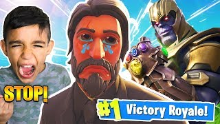 THANOS Makes Little Brother RAGE On Fortnite! Fortnite Infinity Gaunlet Trolling!