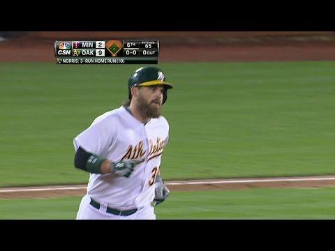 MIN@OAK: Norris blasts a three-run homer