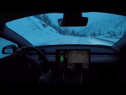 Tesla Model 3 performance SNOW DRIFTING (CLOSED ROAD)
