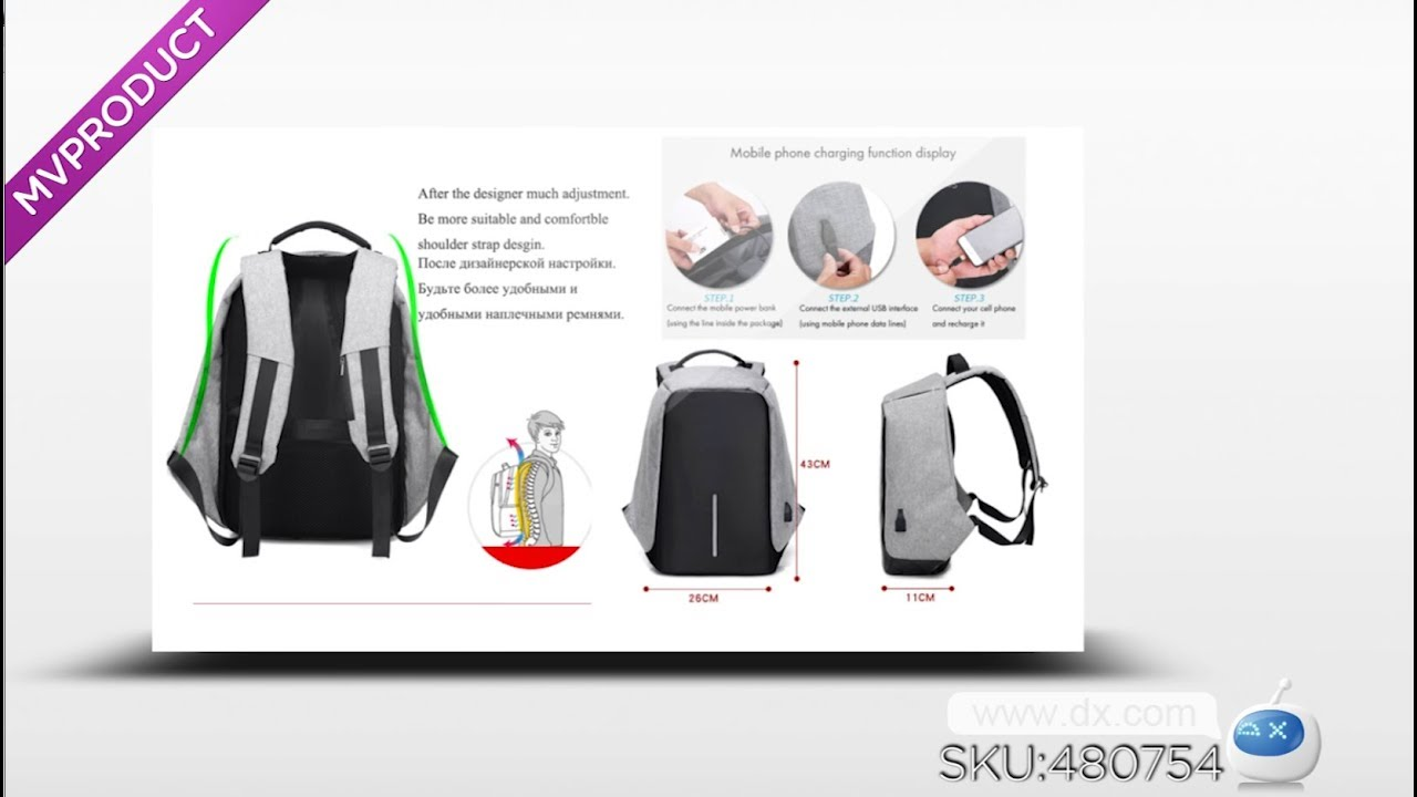 cc3bf197f6 Multi-functional Travel Student Backpack with USB Charging Port - Gray