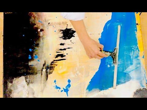 Abstrakte Malerei, Acryl, Easy, Simples Werkzeug, Für Anfänger, Squeegee
