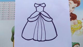 how to draw and color princess dress for kids - Cách vẽ váy công chúa đơn giản