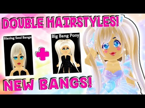 DOUBLE HAIRSTYLES ARE HERE! New BANGS and HAIRSTYLE HACKS in Roblox Royale High School! thumbnail