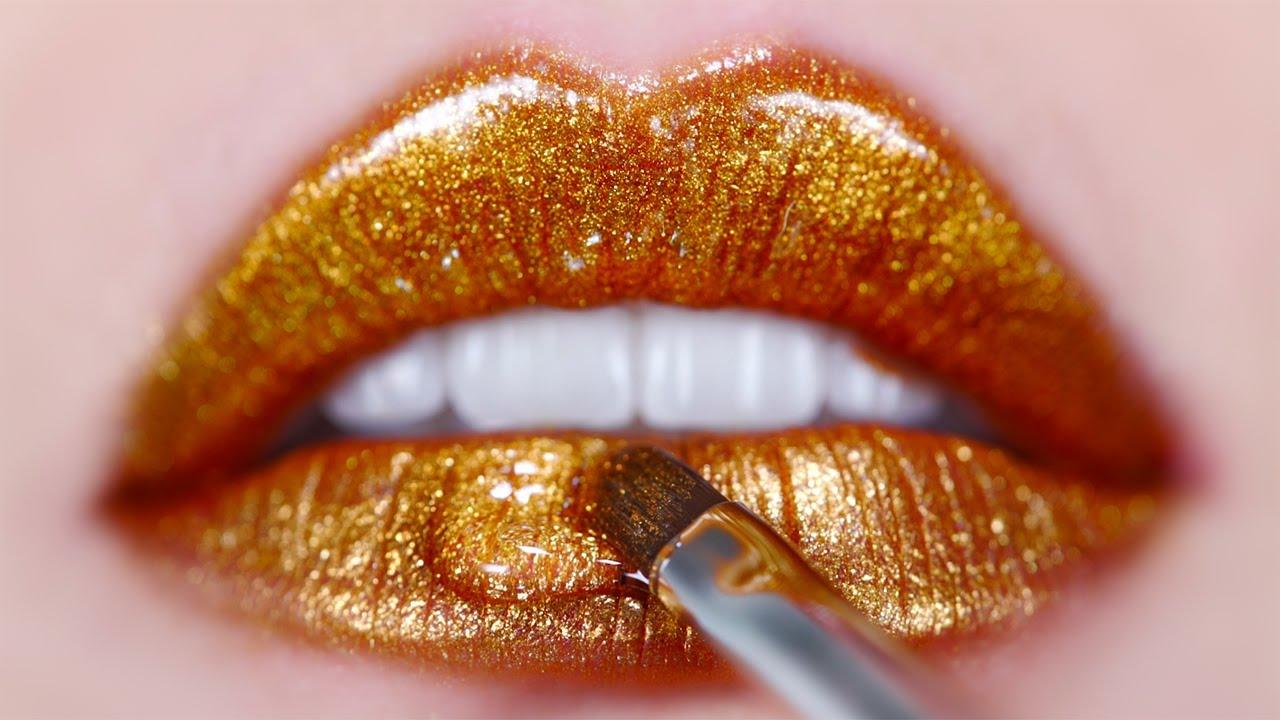 Hot Sexy Gold Lips Makeup Tutorial ( Liquid Lipstick )