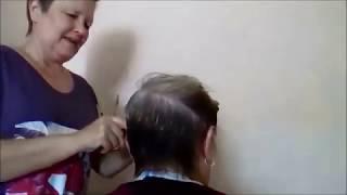 Стрижка ассиметрия на очень редких волосах
