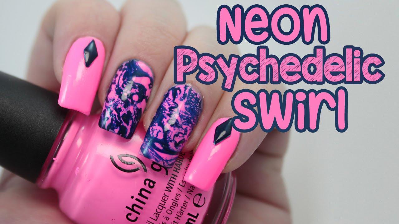 Neon Psychedelic Swirl Nail Art Tutorial Youtube
