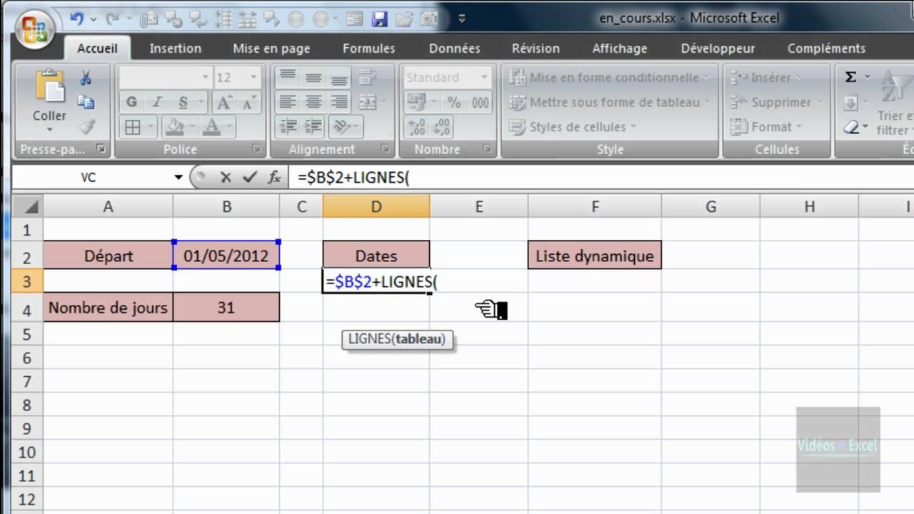 Excel 2007 : Liste déroulante pour dates - Fonctions ...