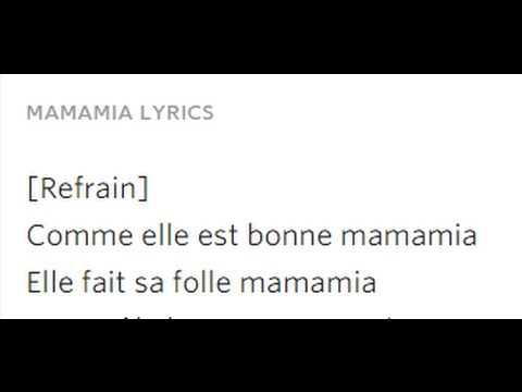 SOSO MANESS - MAMAMIA - Lyrics