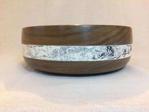 Wood turning - First time turning Milliput epoxy bowl (American black Walnut)