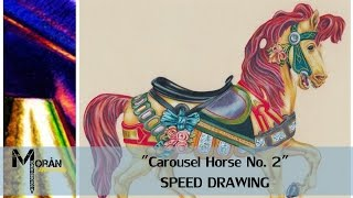 Colored pencil illustration: Carousel Horse No.2