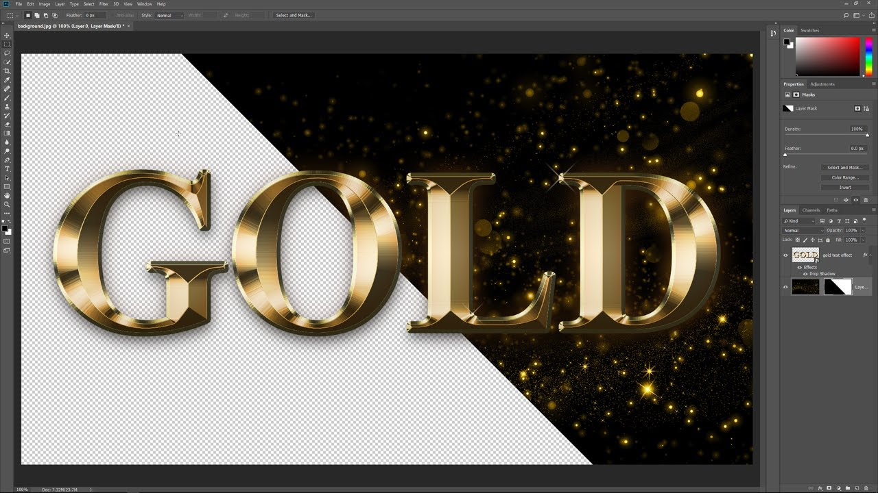 Photoshop Gold Text Effect | Part 2: Remove the Background