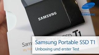 Samsung Portable SSD T1 Externe SSD im Unboxing Lieferumfang und Test deutsch