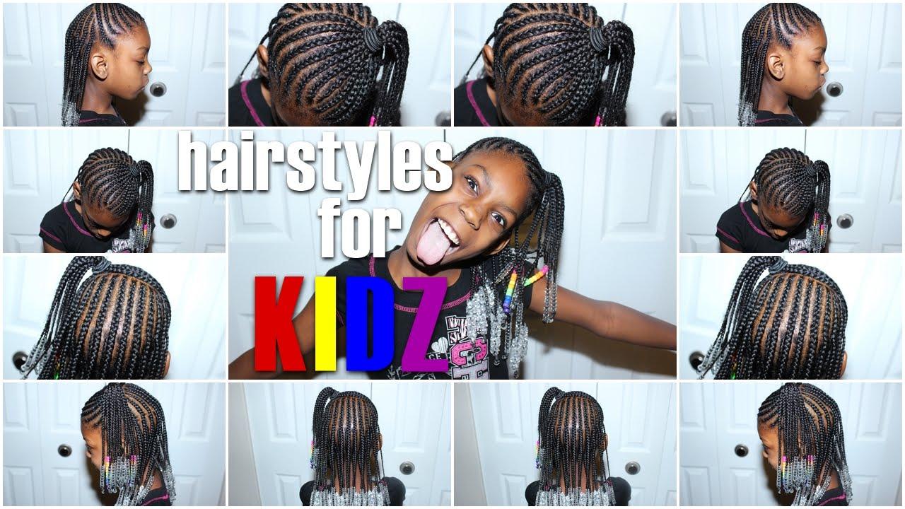 Hairstyles For KIDZ! Braids N' Beads Half Up Half Down YouTube