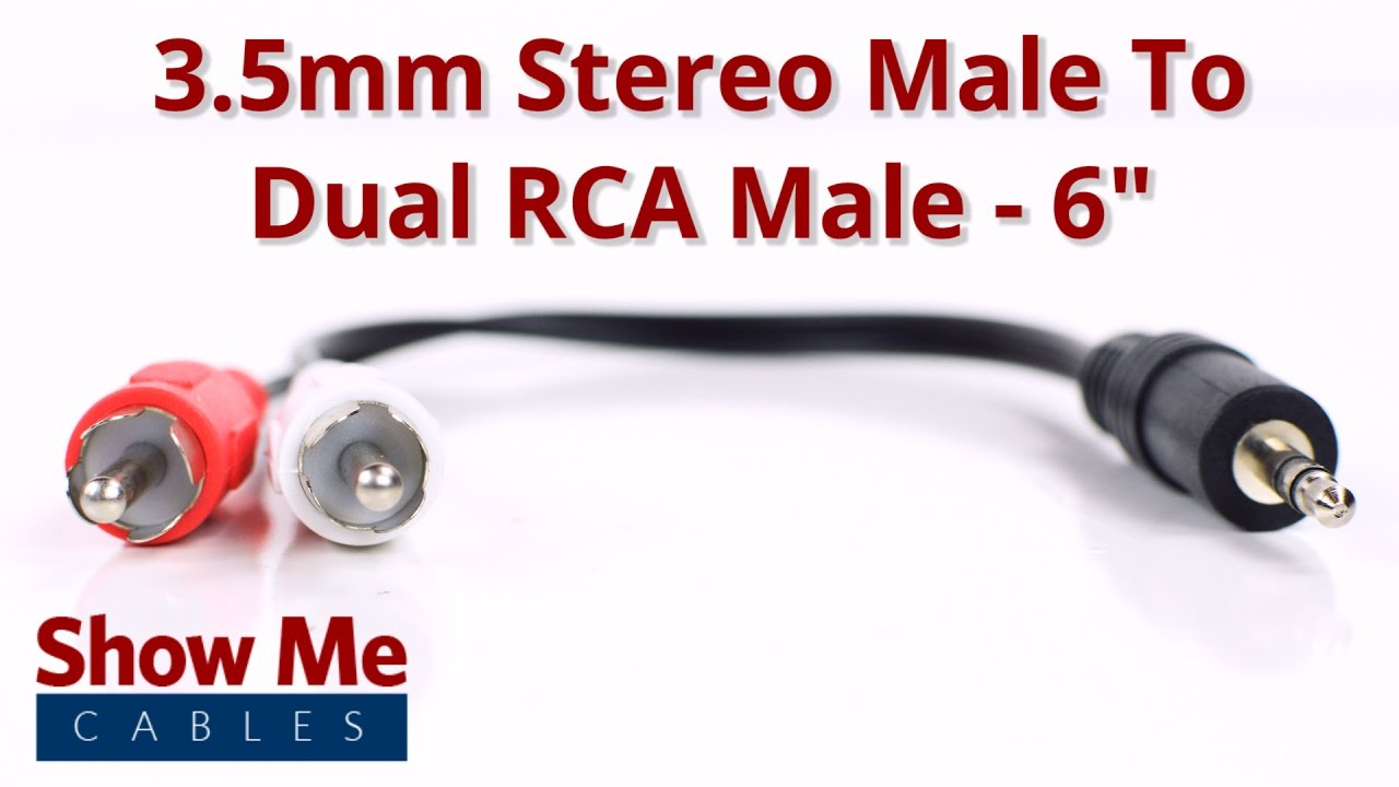 3.5mm Stereo Male To Dual RCA Male Adapter #933 on rca to bnc, rca to headphone jack, rca to 3.5mm jack, rca to usb, rca to 3.5 audio cable, rca to rca,