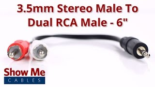 3.5mm Stereo Male To Dual RCA Male Adapter #933