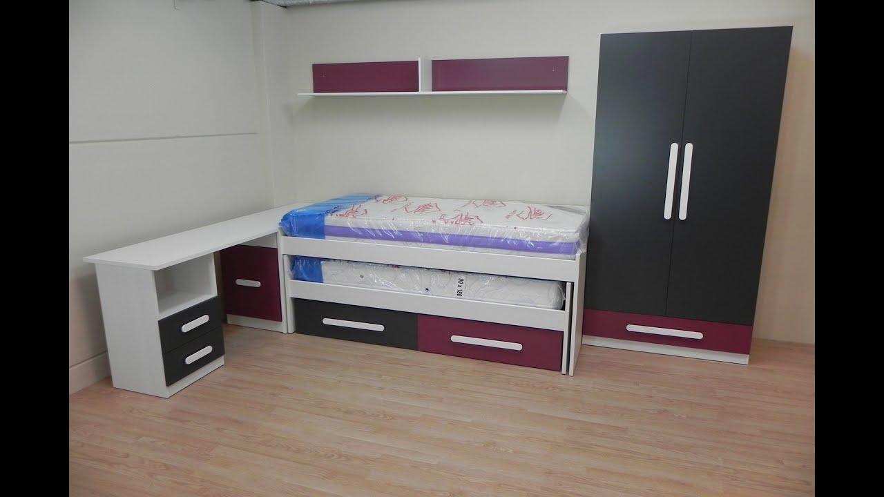Descatalogado dormitorio juvenil cama escritorio for Escritorios dobles juveniles