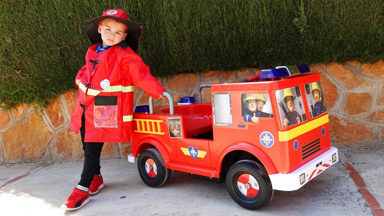 Dima unboxing the power wheels new Fire Truck