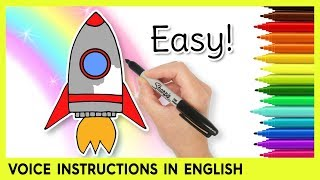 How to Draw a ROCKET SHIP! Easy Learning Video for Kids