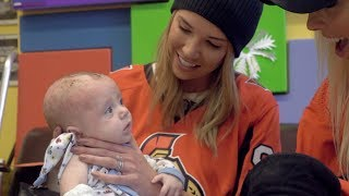 Wives and girlfriends visit CHEO prior to Valentine's Day