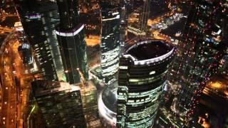 Москва сити с высоты. Съёмка с квадрокоптера ночью