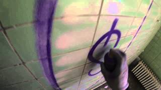 GRAFFITI BOMBING throw-up in abandoned building