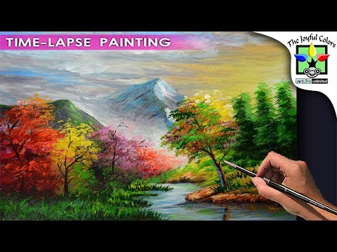 Acrylic Painting Landscape with Colorful Autumn forest trees, and Basic Mountains & River | Tutorial