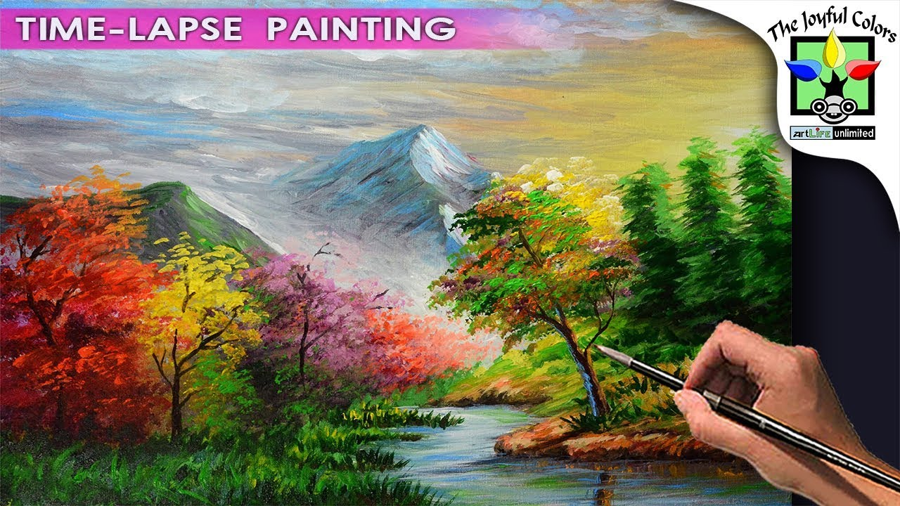 Acrylic Painting Landscape with Colorful Autumn forest trees, and ...