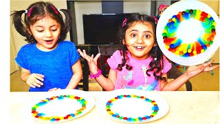 InaZay M&Ms Rainbow Colors Magic Fun Experiment | Dissolving M&Ms Colors In Water