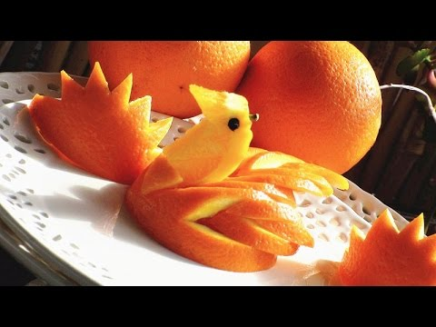 Art in orange swan fruit carving garinsh orange art food decorartion youtube - Cuisine orange ...