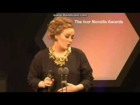 Adele's Speech at the Ivor Novello Awards for Songwriter of The Year (May 17th, 2012)