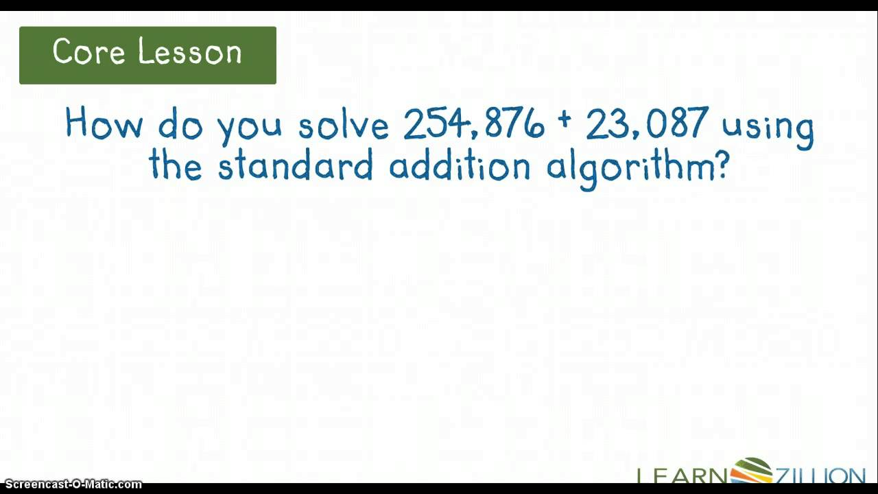 Standard Addition Algorithm (M.4.NBT.4.C) - YouTube