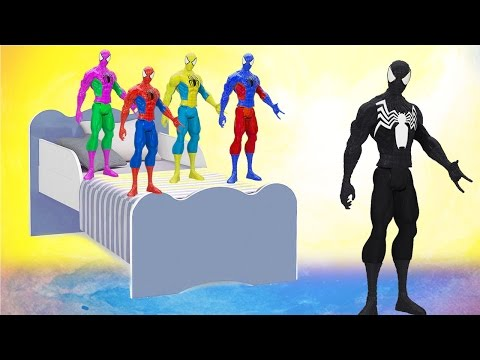 Colors Spiderman Dancing Five Little Spiderman Jumping on the Bed | 5 Little Monkeys Jumping on