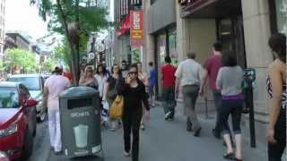 Montreal downtown, Sainte-Catherine street,Quebec,Canada June 2012 in Full HD produced by durachiu