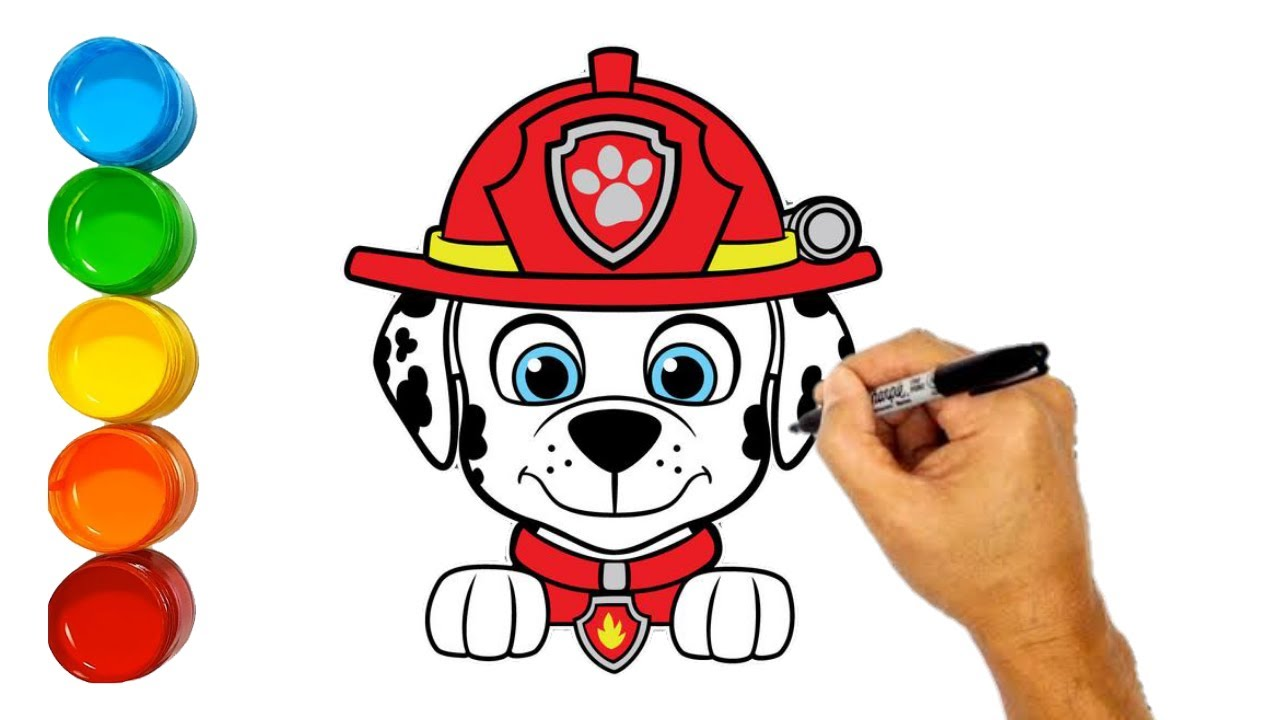 How to draw Marshall paw patrol | paw patrol marshall ...