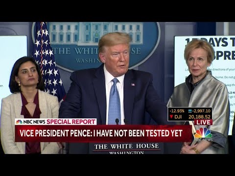 President Donald Trump gives update on coronavirus on March 16 briefing