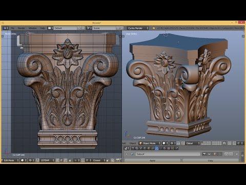 Blender 3D - simple capital modeling timelapse