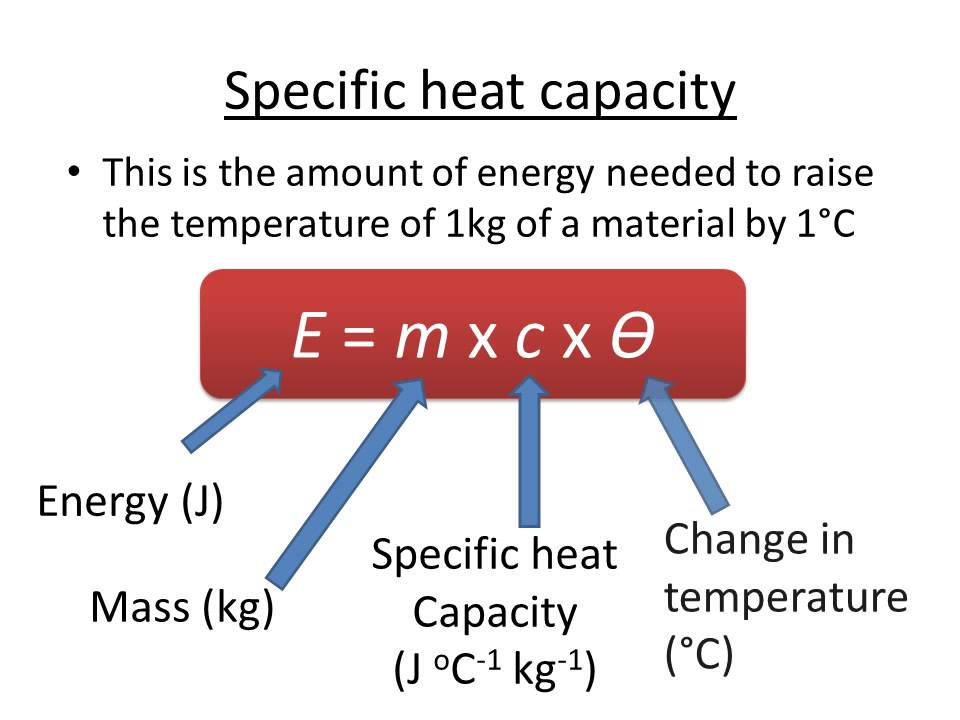 Physics end of year 9 revision cards in gcse physics for Specific heat table j gc