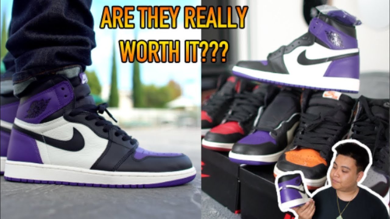finest selection 93210 07777 IS THE AIR JORDAN 1 'COURT PURPLE' REALLY WORTH IT? REVIEW + COMPARISON +  ON FEET!!!