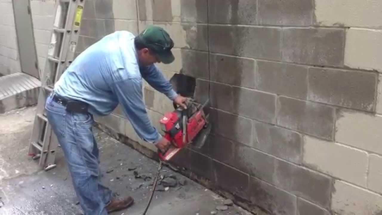 Cutting Concrete Block With Diamond Chainsaw Youtube