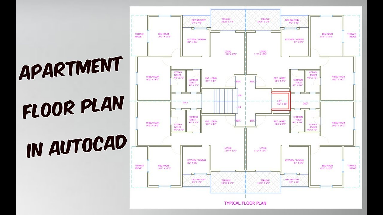 How to draw apartment plan in autocad youtube for Apartment plans autocad