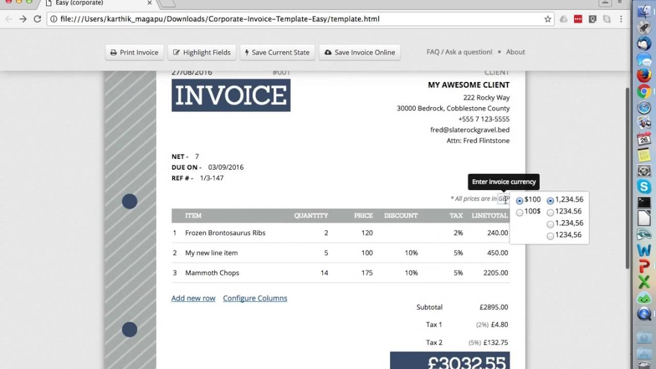 How To Edit Free HTML Invoice Template YouTube - Html invoice template