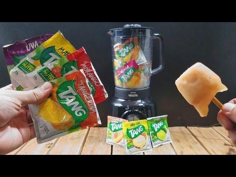 Misturei todos os sabores de suco Tang e fiz um Picolé! Ficou bom?