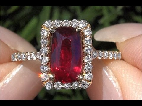 GIA Certified UNHEATED Natural VVS Red Ruby Diamond 14k Gold Engagement Ring - C454